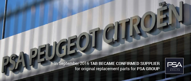TAB BECAME CONFIRMED SUPPLIER for PSA GROUP